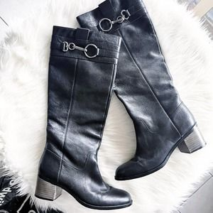 Coach Knee High Stacked Heel Black Leather Boots